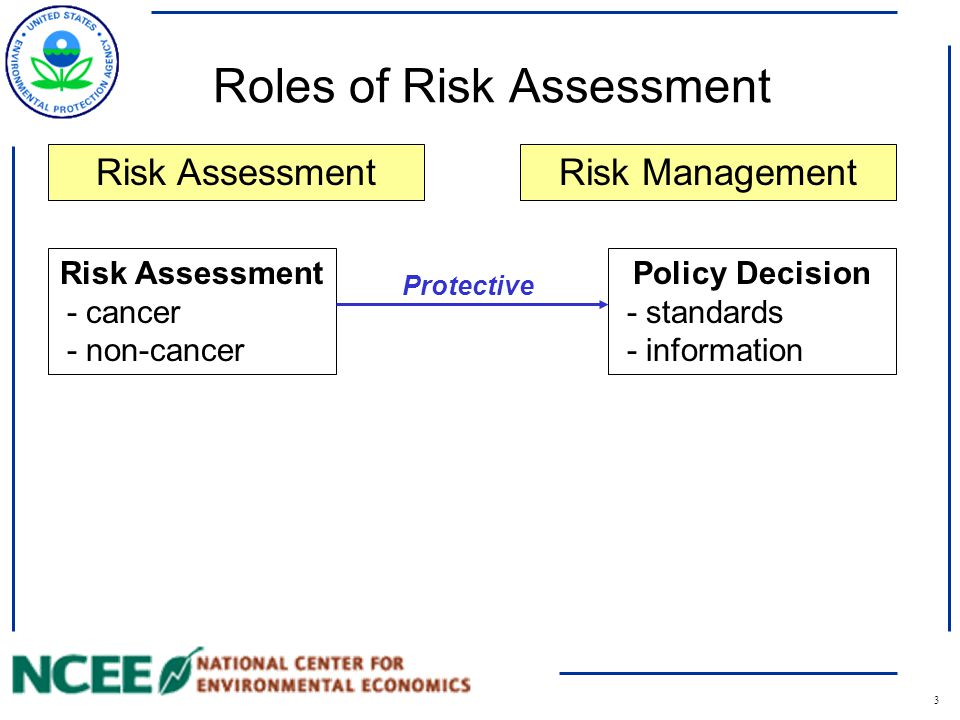 3 Roles of Risk Assessment Risk Assessment - cancer - non-cancer Policy Decision - standards - information Risk AssessmentRisk Management Protective