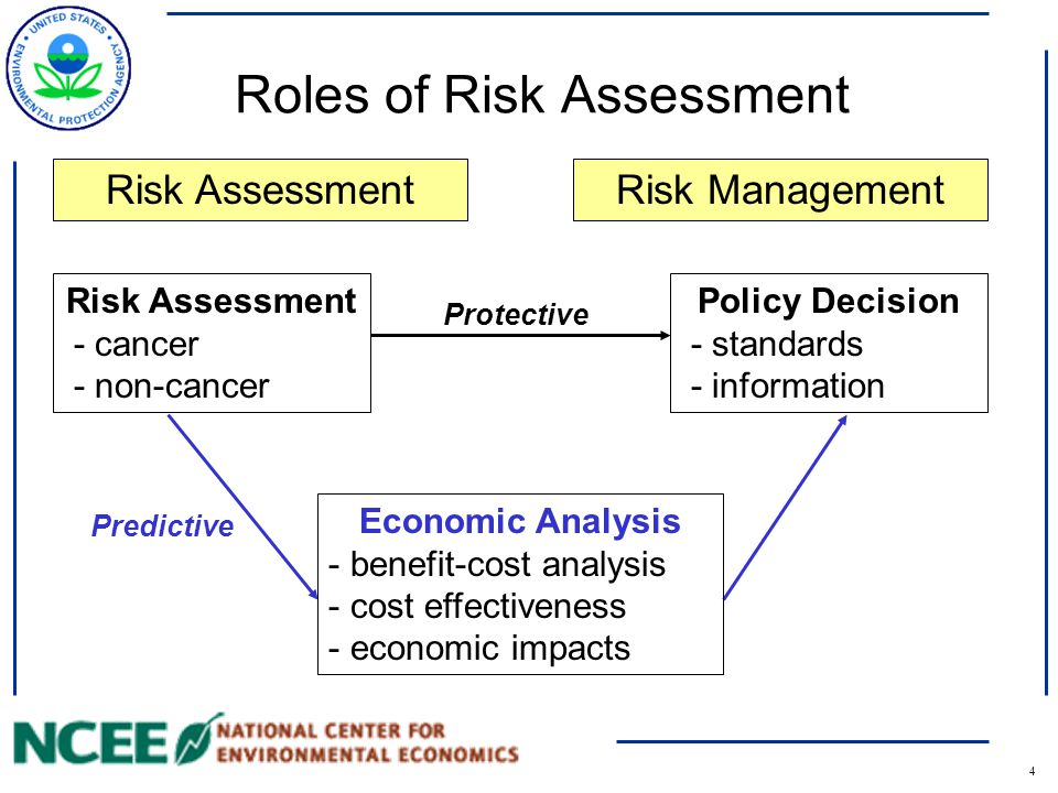 4 Roles of Risk Assessment Risk Assessment - cancer - non-cancer Policy Decision - standards - information Risk Assessment Economic Analysis - benefit-cost analysis - cost effectiveness - economic impacts Risk Management Protective Predictive