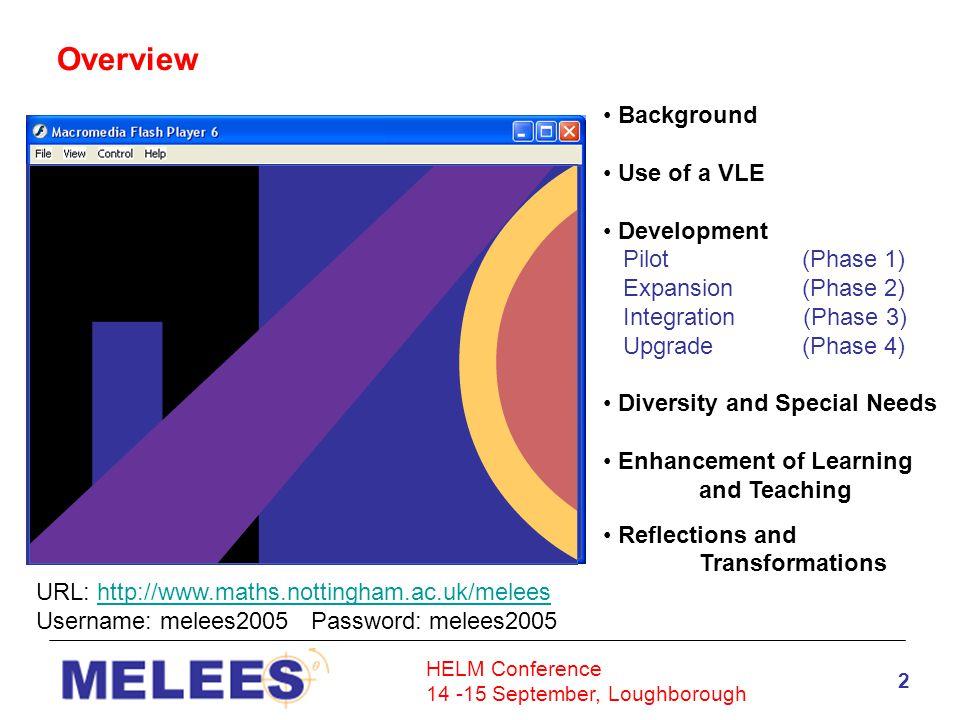 HELM Conference 14 -15 September, Loughborough 23