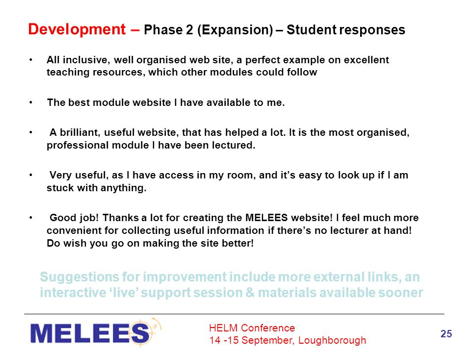 HELM Conference 14 -15 September, Loughborough 25 Development – Phase 2 (Expansion) – Student responses All inclusive, well organised web site, a perfect example on excellent teaching resources, which other modules could follow The best module website I have available to me.