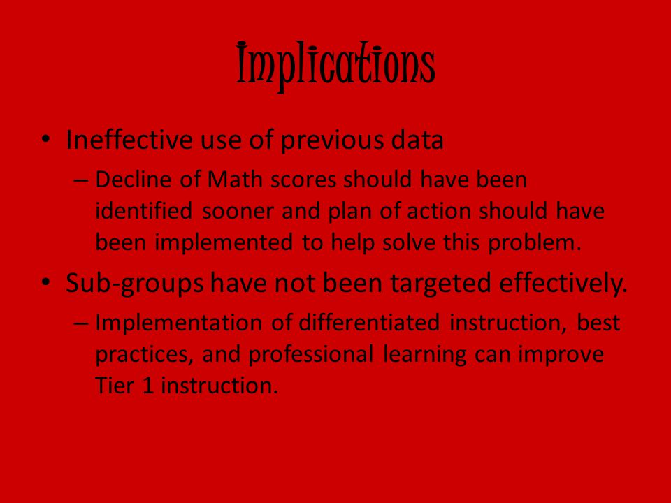 Implications Ineffective use of previous data – Decline of Math scores should have been identified sooner and plan of action should have been implemented to help solve this problem.