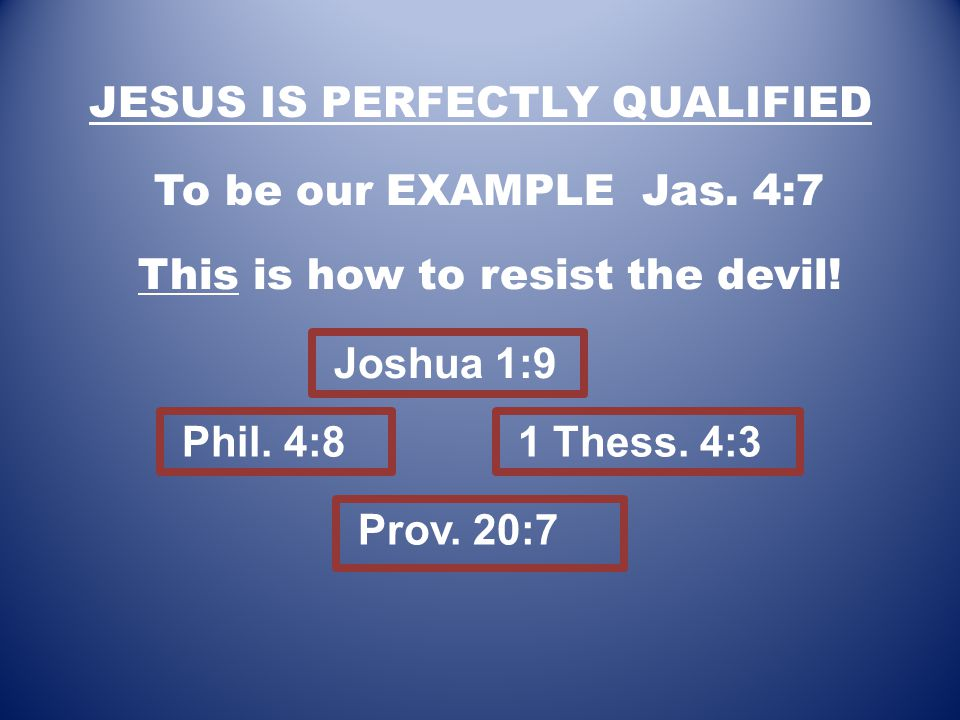 JESUS IS PERFECTLY QUALIFIED To be our EXAMPLE Jas.