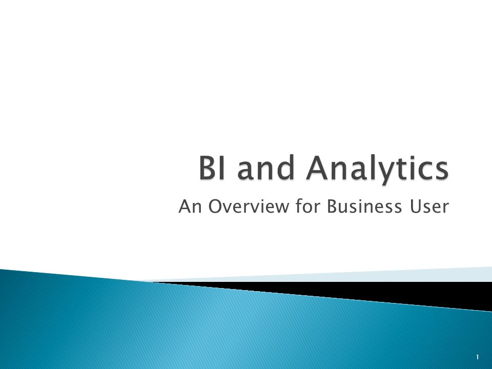 An Overview for Business User 1