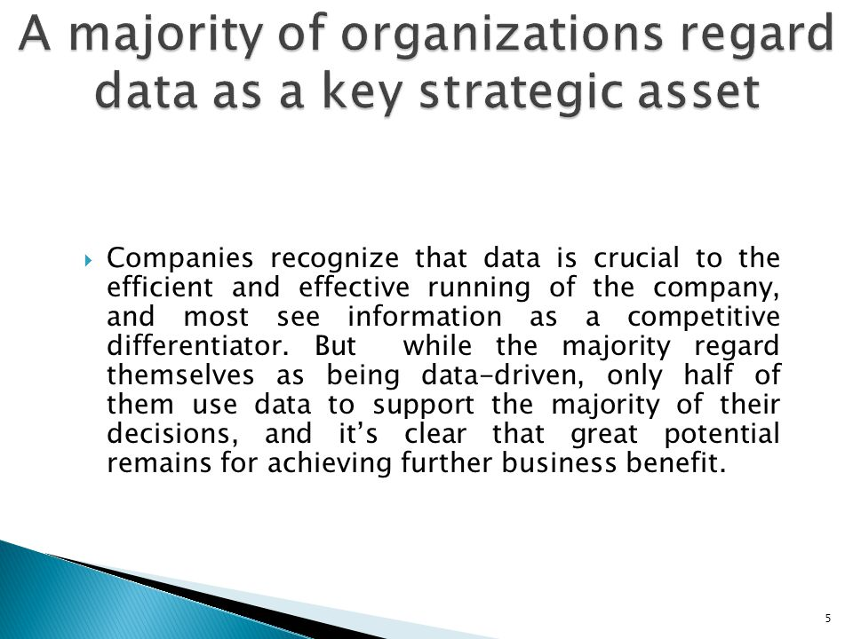  Companies recognize that data is crucial to the efficient and effective running of the company, and most see information as a competitive differenti