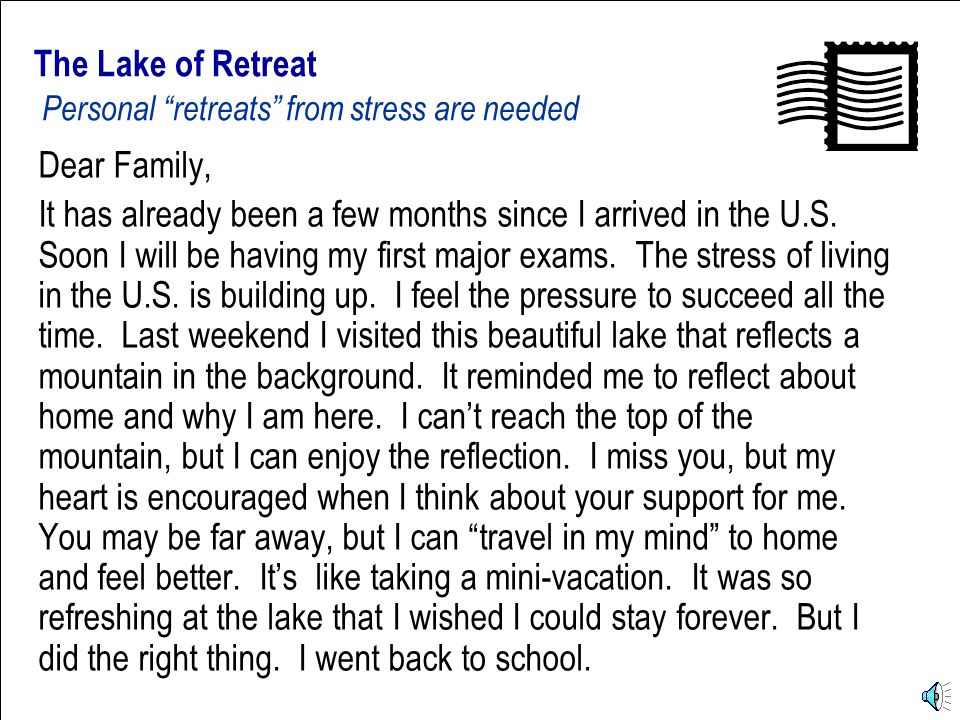 Postcards from the U.S. The Lake of Retreat