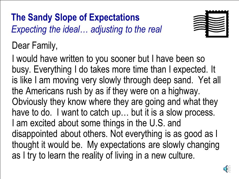 Postcards from the U.S. The Sandy Slope of Expectations