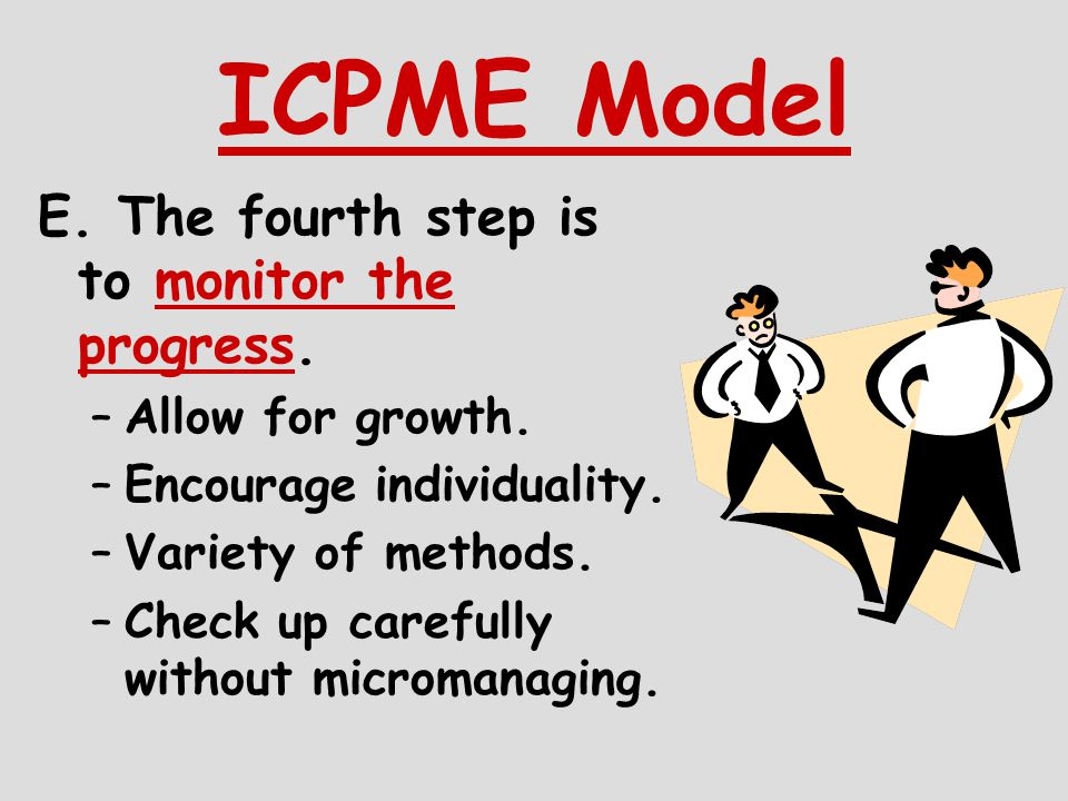 ICPME Model E. The fourth step is to monitor the progress.