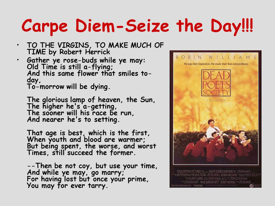 Carpe Diem-Seize the Day!!.