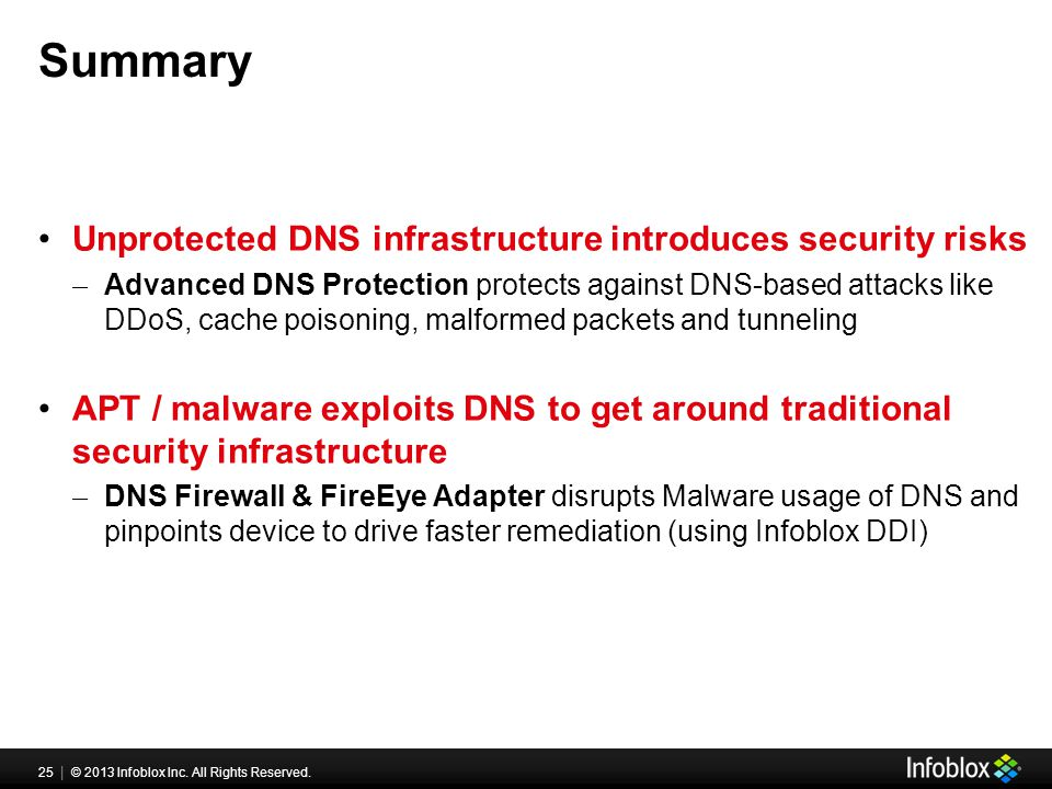 25 | © 2013 Infoblox Inc. All Rights Reserved. Summary Unprotected DNS infrastructure introduces security risks ̶ Advanced DNS Protection protects aga
