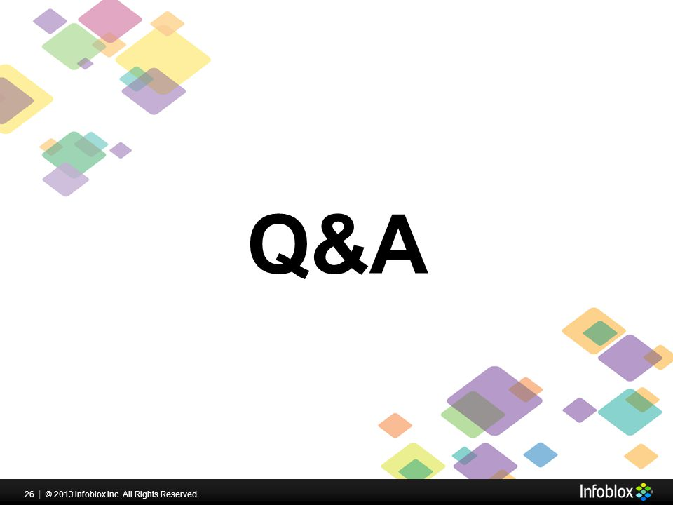 26   © 2013 Infoblox Inc. All Rights Reserved. Q&A