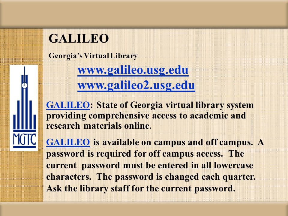 PAC: Patron Access Catalog http://library.middlegatech.edu/ You can also use this address to access the Library catalog from off campus.