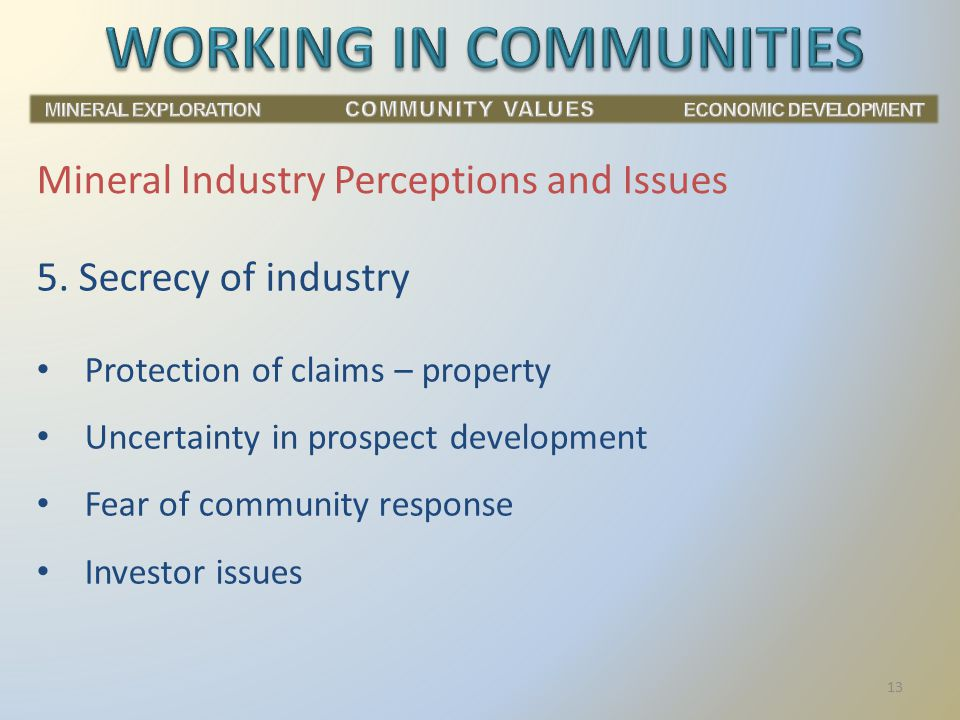 Mineral Industry Perceptions and Issues 5.
