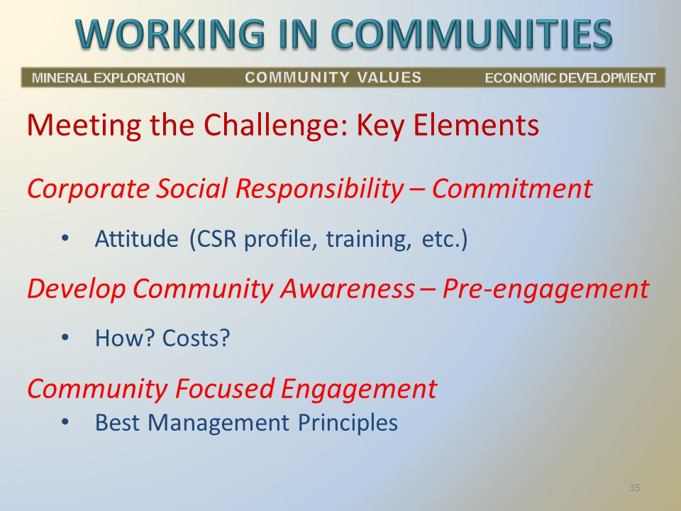 Corporate Social Responsibility – Commitment Attitude (CSR profile, training, etc.) Develop Community Awareness – Pre-engagement How.