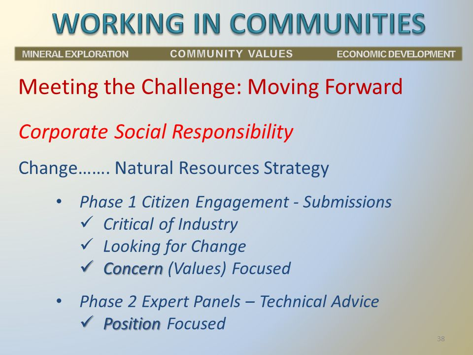 Corporate Social Responsibility Change……. Natural Resources Strategy Phase 1 Citizen Engagement - Submissions Critical of Industry Looking for Change