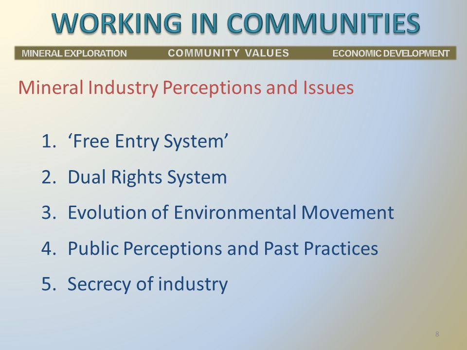 1.'Free Entry System' 2.Dual Rights System 3.Evolution of Environmental Movement 4.Public Perceptions and Past Practices 5.Secrecy of industry Mineral Industry Perceptions and Issues 8