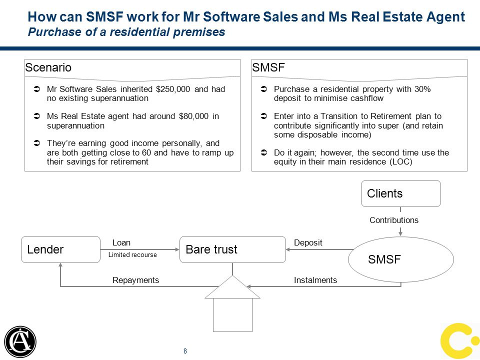 How can SMSF work for Mr Almost There Purchase of a property (likely commercial) via a Joint Venture 9 Scenario  Mr Almost There has $70,000 in super, and runs a motorbike building business  He's got interesting friends, and like Mr Mechanic, wants to own the shed where his business is based  Can't save for peanuts, but is able to pay bills SMSF  Purchase a commercial shed with one of the investors in the bike business with ownership based on money tipped in  As the tenant and member, Mr Almost There can pay more/less off over time, thereby managing tax and building wealth  Other option would be to invest in US property market, where it's a buyers market SMSF Mr Almost There SMSF Mr Cool