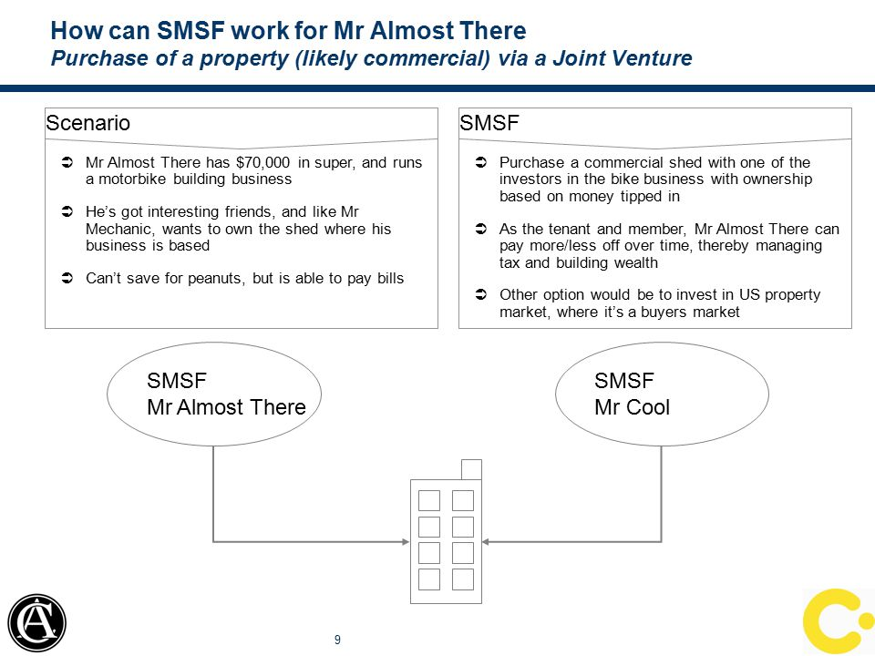 How can SMSF work for Mr Almost There Purchase of a property (likely commercial) via a Joint Venture 9 Scenario  Mr Almost There has $70,000 in super