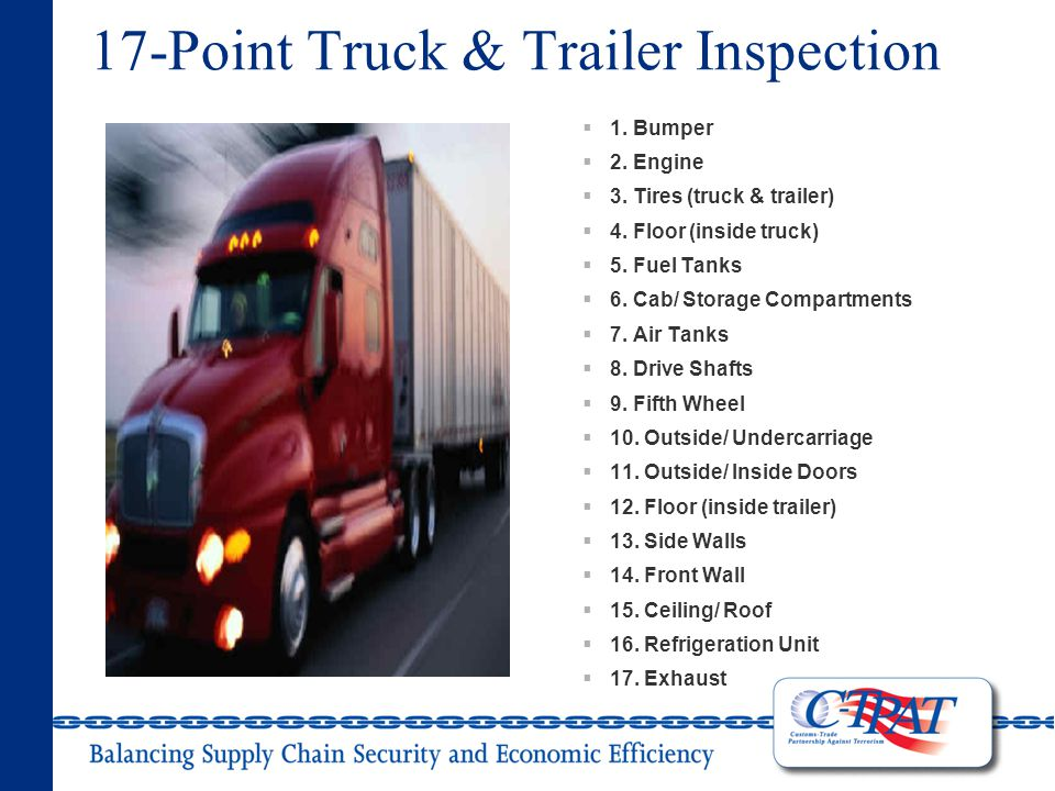 17-Point Truck & Trailer Inspection  1. Bumper  2.