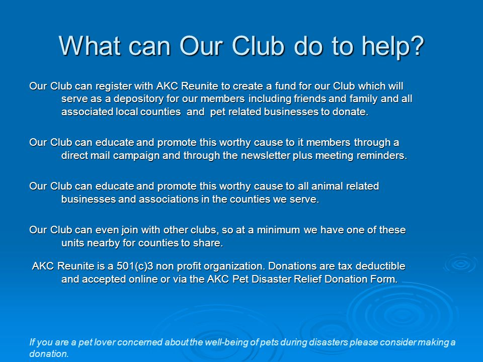 What can Our Club do to help.