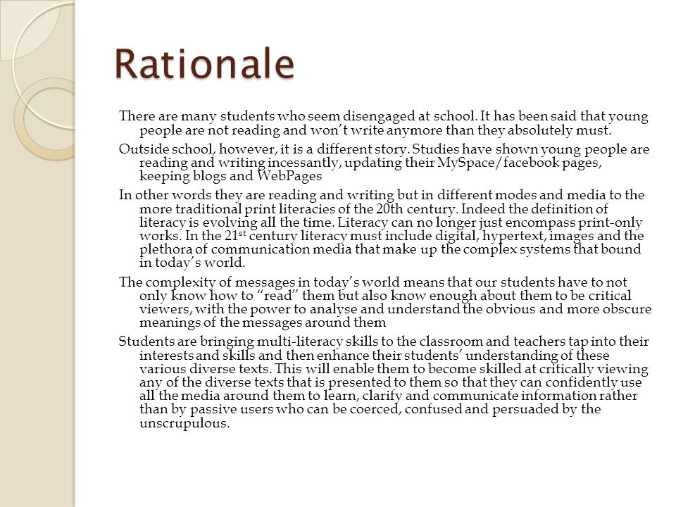 Rationale There are many students who seem disengaged at school.
