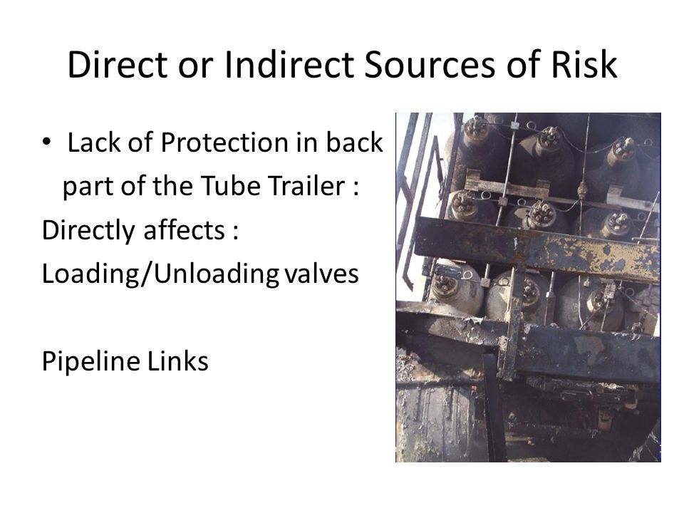Direct or Indirect Sources of Risk Lack of Protection in back part of the Tube Trailer : Directly affects : Loading/Unloading valves Pipeline Links