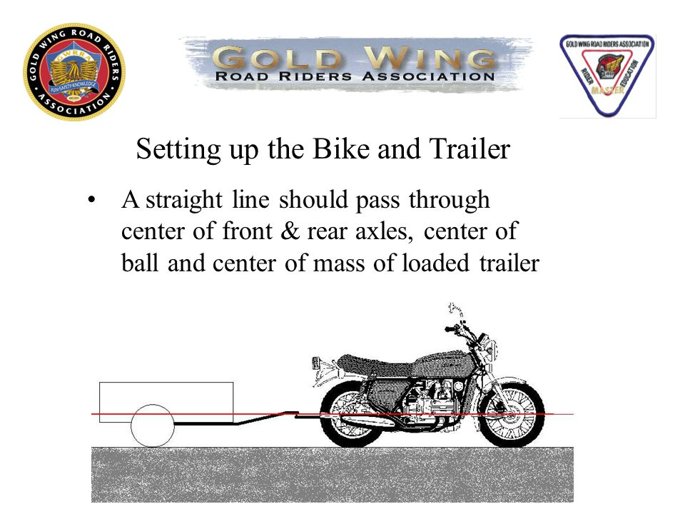 Setting up the Bike and Trailer A straight line should pass through center of front & rear axles, center of ball and center of mass of loaded trailer