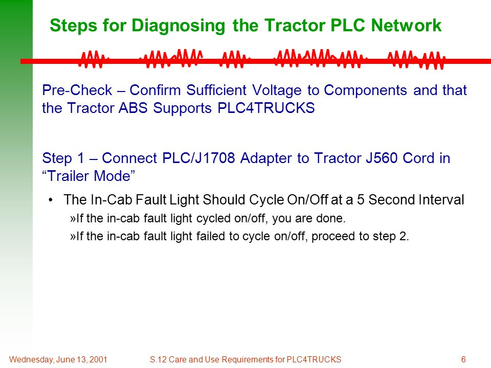 6Wednesday, June 13, 2001S.12 Care and Use Requirements for PLC4TRUCKS Steps for Diagnosing the Tractor PLC Network Pre-Check – Confirm Sufficient Voltage to Components and that the Tractor ABS Supports PLC4TRUCKS Step 1 – Connect PLC/J1708 Adapter to Tractor J560 Cord in Trailer Mode The In-Cab Fault Light Should Cycle On/Off at a 5 Second Interval »If the in-cab fault light cycled on/off, you are done.