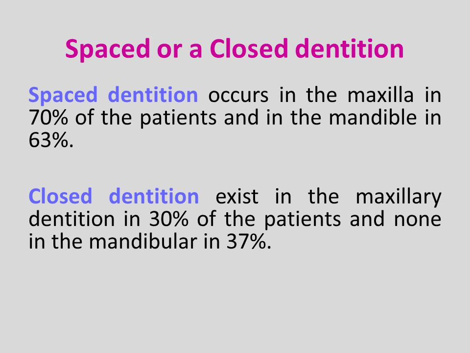 Spaced dentiotion Closed dentiotion