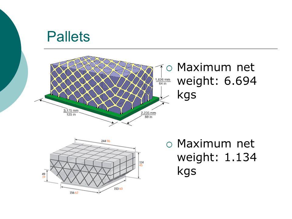 Pallets  Maximum net weight: 6.694 kgs  Maximum net weight: 1.134 kgs