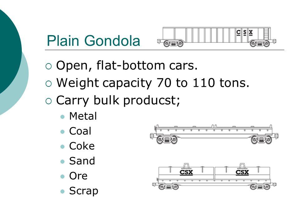 Plain Gondola  Open, flat-bottom cars.  Weight capacity 70 to 110 tons.  Carry bulk producst; Metal Coal Coke Sand Ore Scrap
