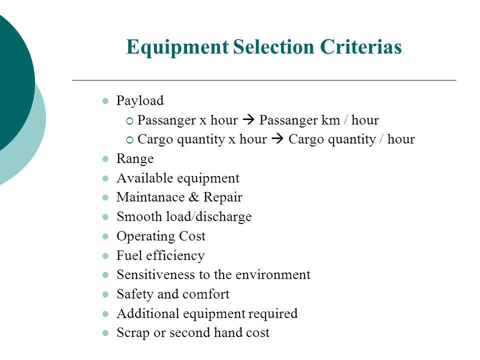 Equipment Selection Criterias Payload  Passanger x hour  Passanger km / hour  Cargo quantity x hour  Cargo quantity / hour Range Available equipme