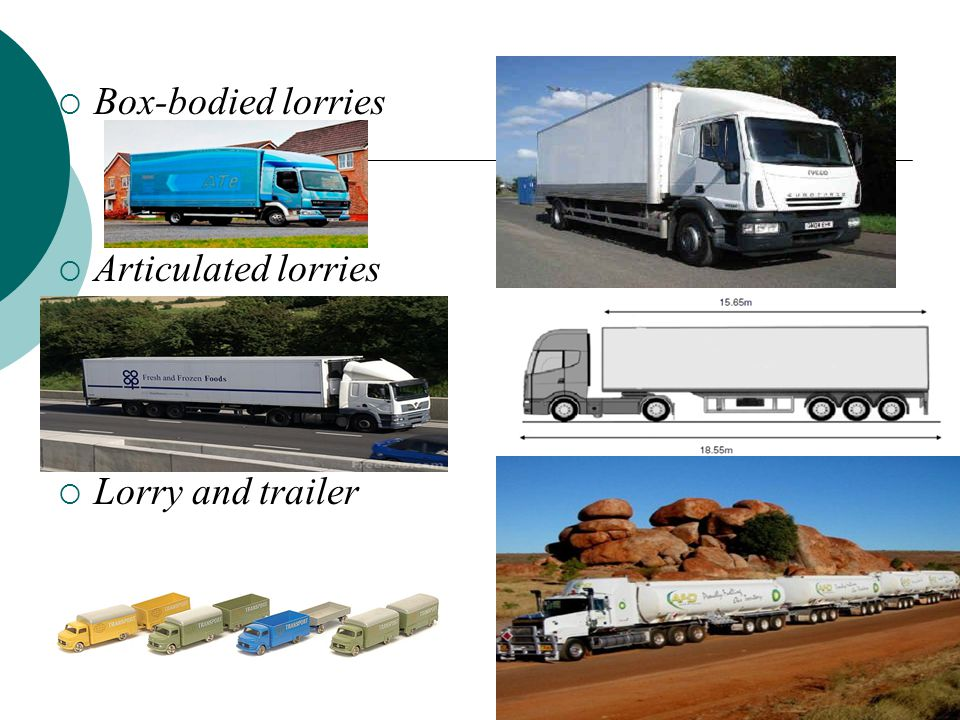  Box-bodied lorries  Articulated lorries  Lorry and trailer