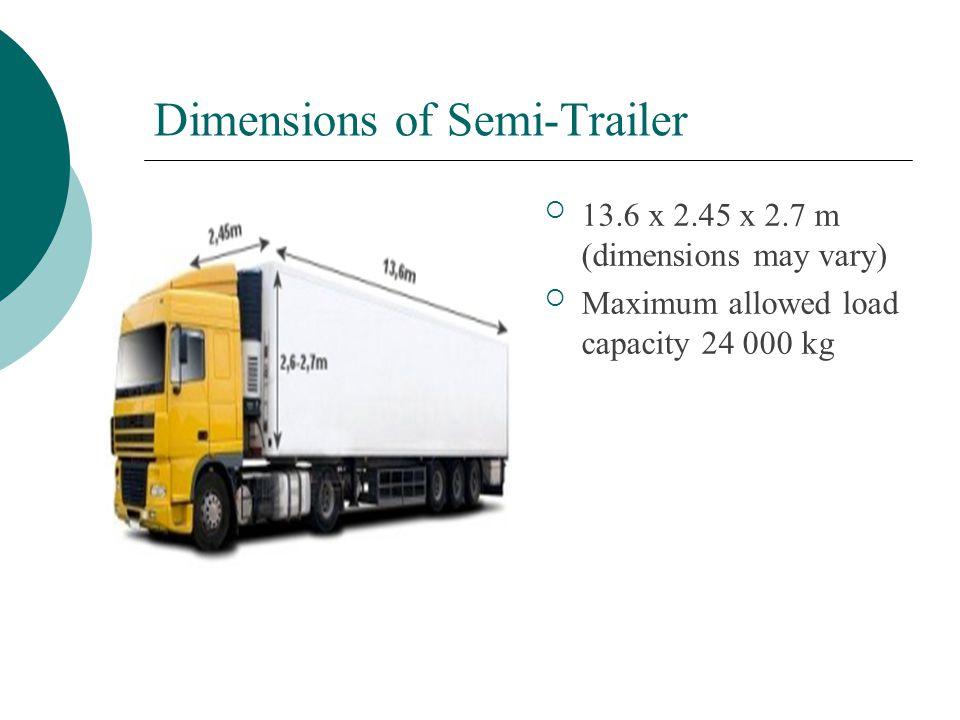 Dimensions of Semi-Trailer  13.6 x 2.45 x 2.7 m (dimensions may vary)  Maximum allowed load capacity 24 000 kg