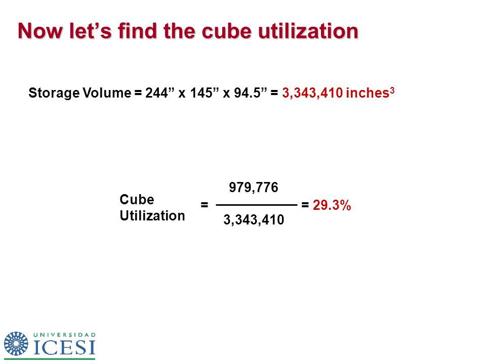 Now let's find the cube utilization Storage Volume = 244 x 145 x 94.5 = 3,343,410 inches 3 Cube Utilization = = 29.3% 979,776 3,343,410