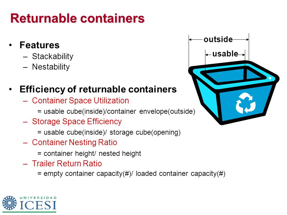 Returnable containers Features –Stackability –Nestability Efficiency of returnable containers –Container Space Utilization = usable cube(inside)/container envelope(outside) –Storage Space Efficiency = usable cube(inside)/ storage cube(opening) –Container Nesting Ratio = container height/ nested height –Trailer Return Ratio = empty container capacity(#)/ loaded container capacity(#) usable outside