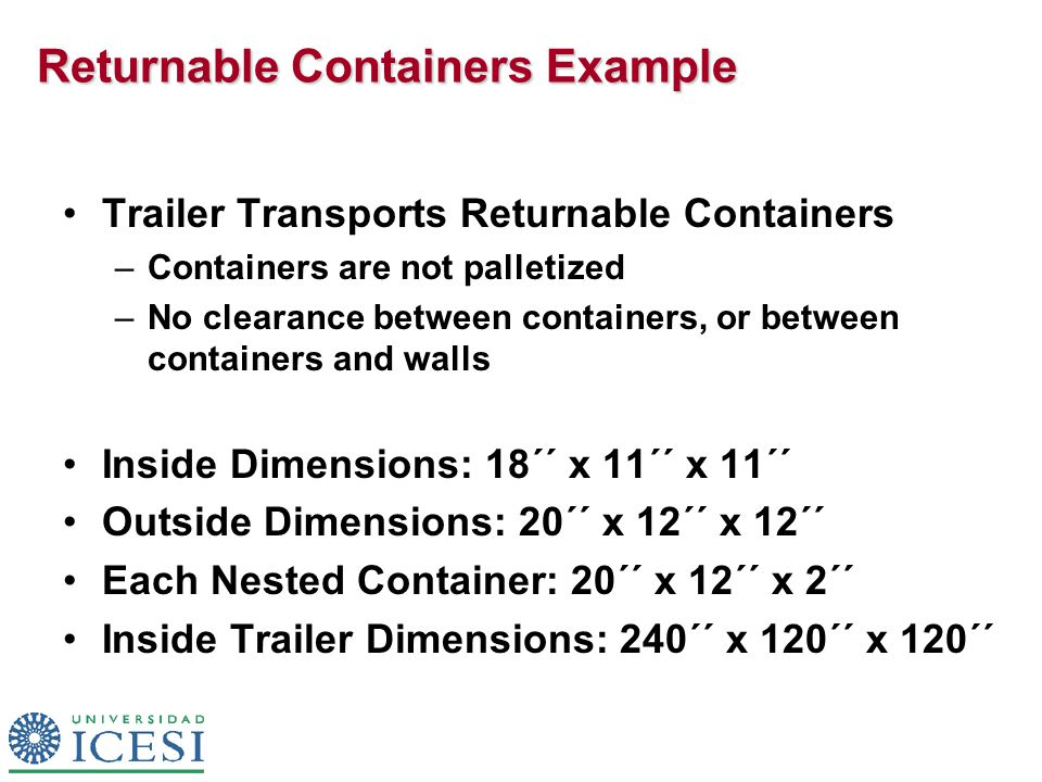 Returnable Containers Example Trailer Transports Returnable Containers –Containers are not palletized –No clearance between containers, or between containers and walls Inside Dimensions: 18´´ x 11´´ x 11´´ Outside Dimensions: 20´´ x 12´´ x 12´´ Each Nested Container: 20´´ x 12´´ x 2´´ Inside Trailer Dimensions: 240´´ x 120´´ x 120´´