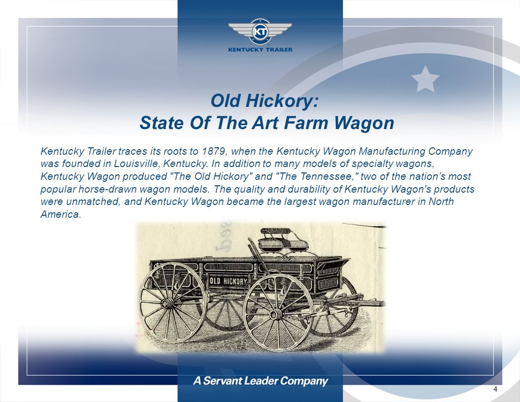 4 Old Hickory: State Of The Art Farm Wagon Kentucky Trailer traces its roots to 1879, when the Kentucky Wagon Manufacturing Company was founded in Louisville, Kentucky.