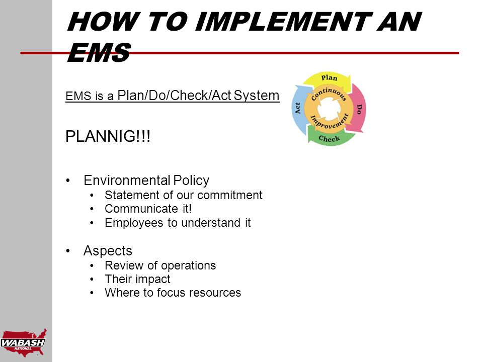 EMS is a Plan/Do/Check/Act System PLANNIG!!.