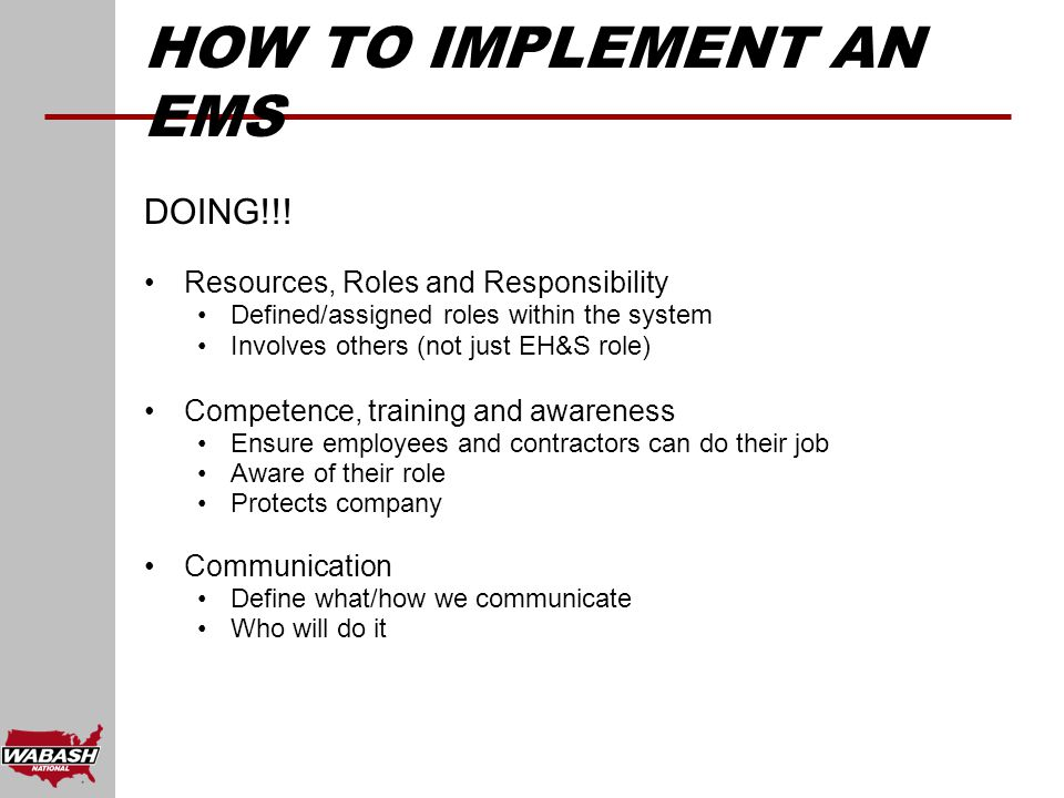 HOW TO IMPLEMENT AN EMS DOING!!.
