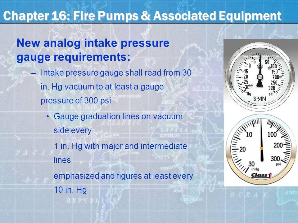 New analog intake pressure gauge requirements: –Intake pressure gauge shall read from 30 in.