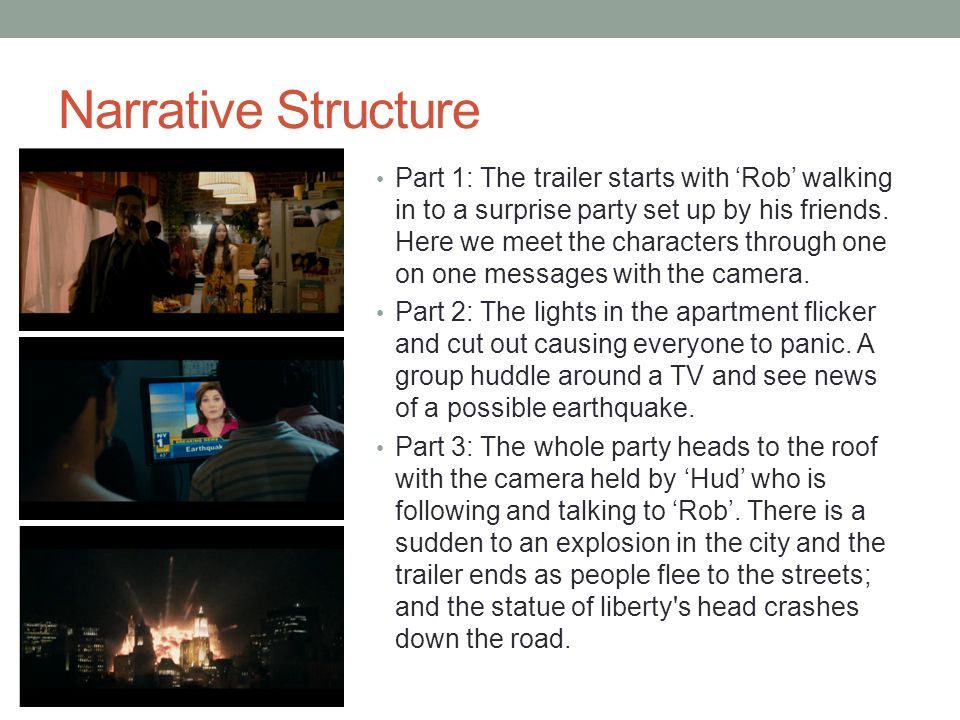 Narrative Structure Part 1: The trailer starts with 'Rob' walking in to a surprise party set up by his friends.