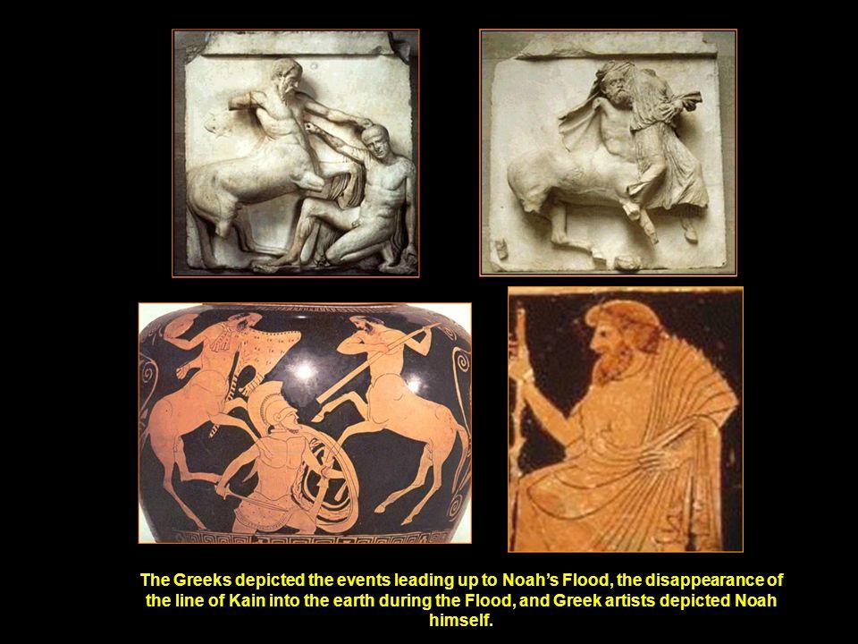 On this ancient shield band panel, Herakles grabs Nereus, the Greek Noah.