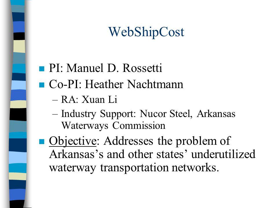 WebShipCost n PI: Manuel D. Rossetti n Co-PI: Heather Nachtmann –RA: Xuan Li –Industry Support: Nucor Steel, Arkansas Waterways Commission n Objective