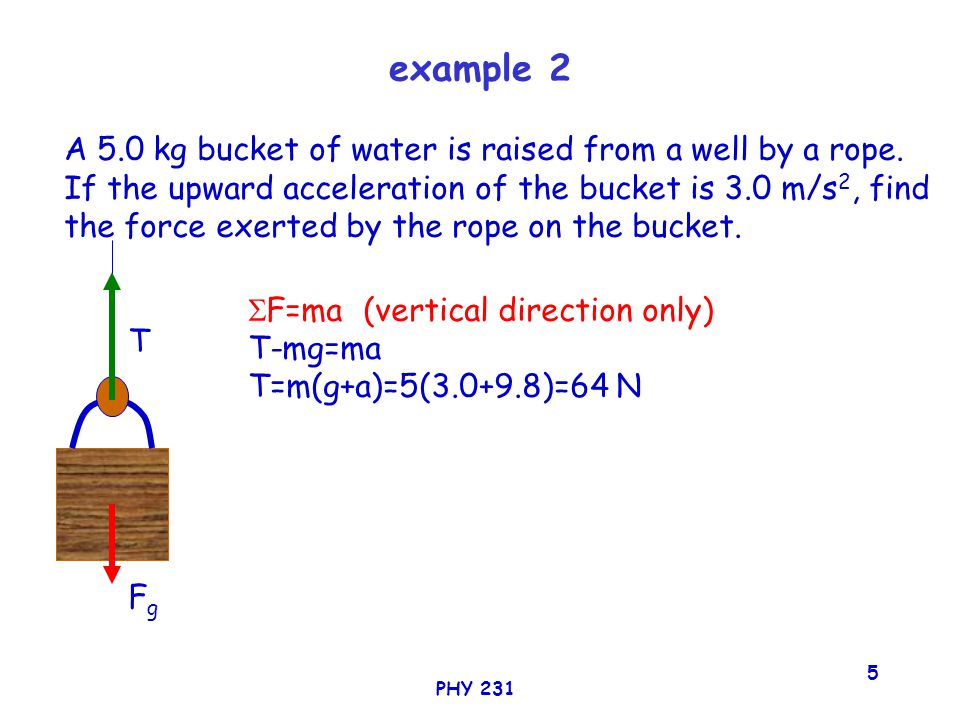 PHY 231 5 example 2 A 5.0 kg bucket of water is raised from a well by a rope.