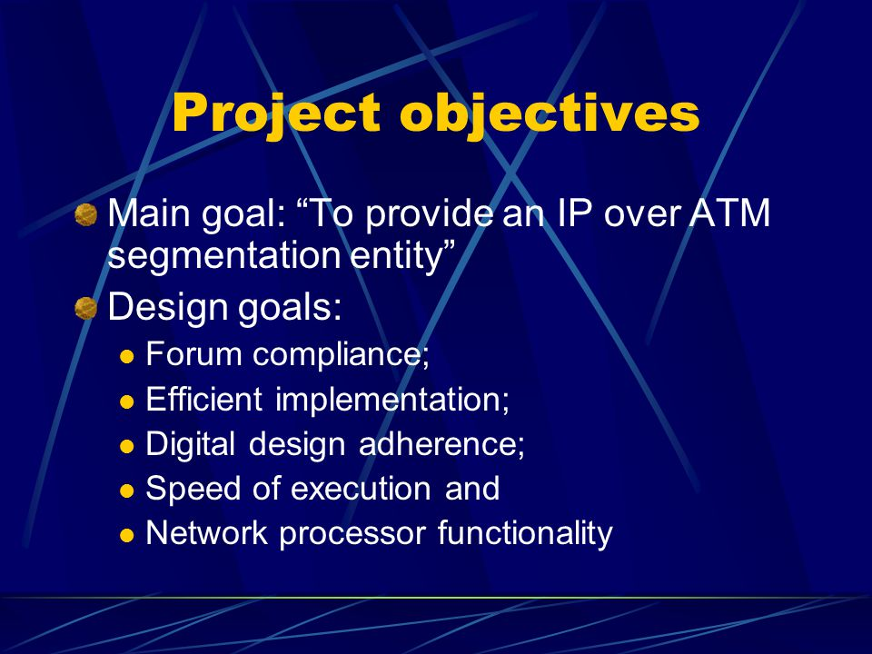Project introduction Proknet = processor + network Capable of receiving incoming variable- sized Internet Protocol (IP) packets, and outputting fixed-sized ATM cells Design is outlined, architecture is overviewed and final results are presented