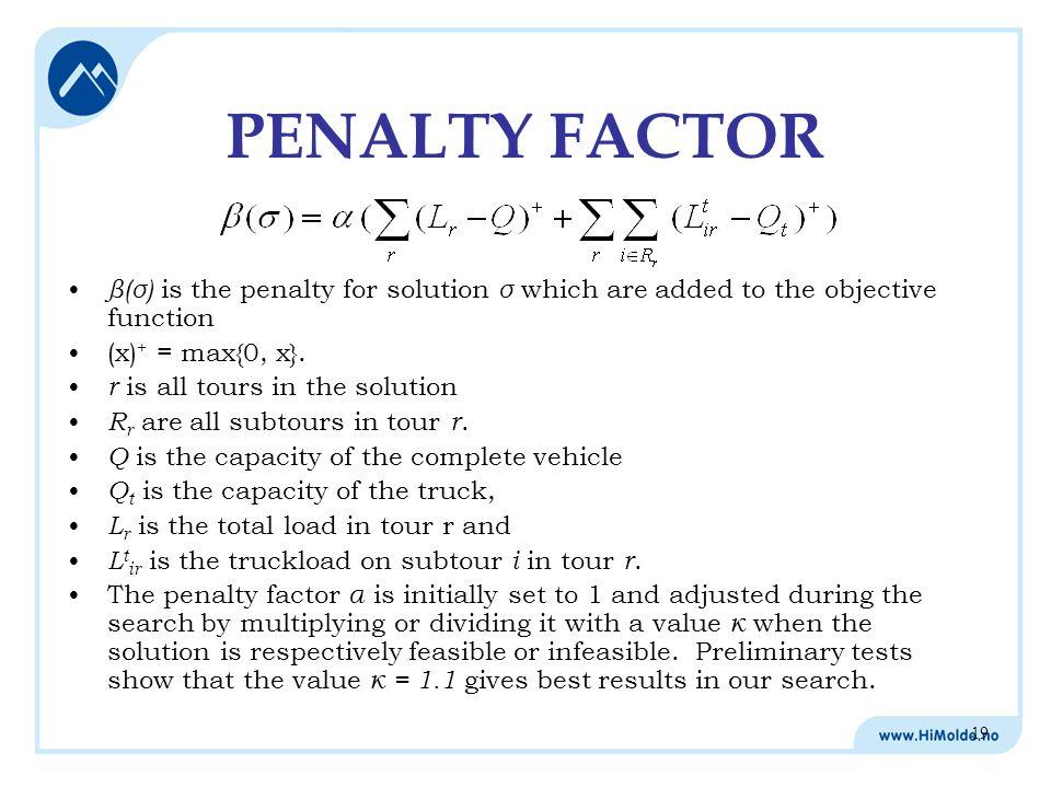 19 β(σ) is the penalty for solution σ which are added to the objective function (x) + = max{0, x}.