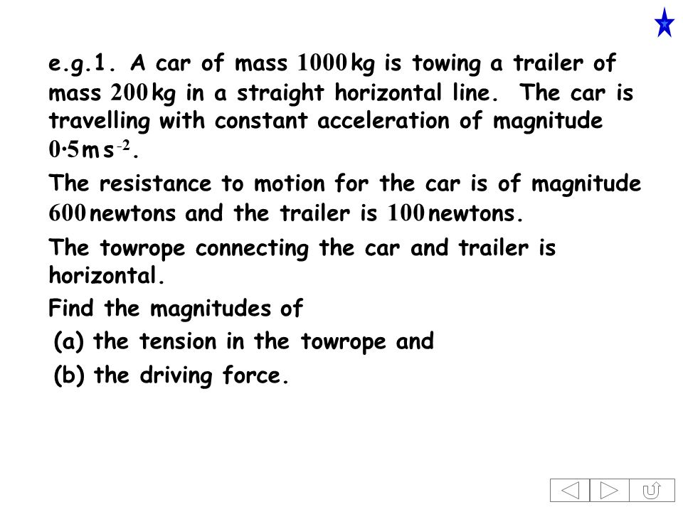 e.g.1.A car of mass 1000 kg is towing a trailer of mass 200 kg in a straight horizontal line.