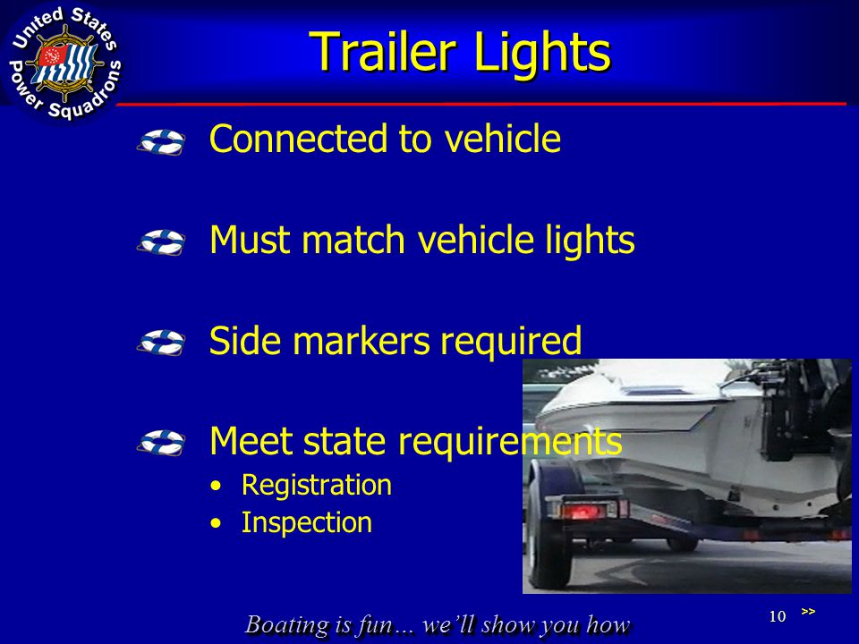 Boating is fun… we'll show you how Trailer Lights Connected to vehicle Must match vehicle lights Side markers required Meet state requirements Registration Inspection >> 10