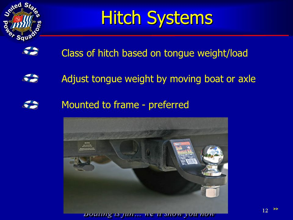 Boating is fun… we'll show you how Hitch Systems Class of hitch based on tongue weight/load Adjust tongue weight by moving boat or axle Mounted to frame - preferred >> 12