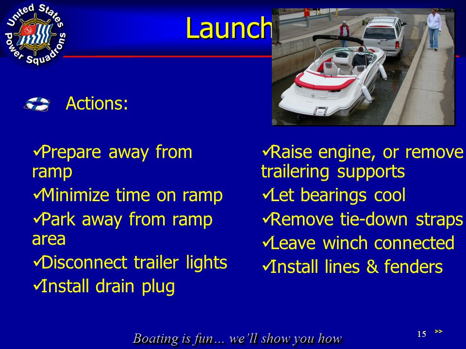 Boating is fun… we'll show you how Launching Prepare away from ramp Minimize time on ramp Park away from ramp area Disconnect trailer lights Install drain plug Raise engine, or remove trailering supports Let bearings cool Remove tie-down straps Leave winch connected Install lines & fenders >> 15 Actions: